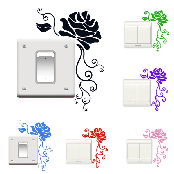 New Rose Flowers Switch Sticker Decorative Wall Decal DIY Home Decor for Kids Rooms Art Baby Nursery Bedroom Switch