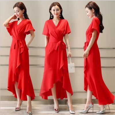 Long skirts, front fork, lotus leaf lace, waist side pockets, horn sleeve, short sleeve, irregular swallow tail dress