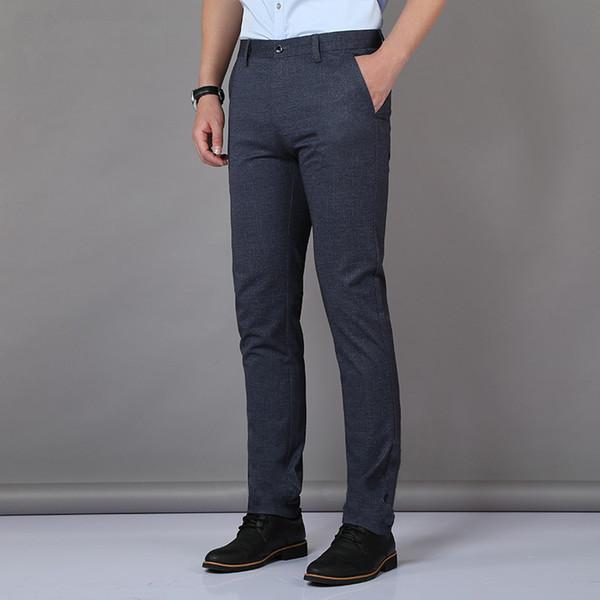 Terno Calças Homens Primavera Verão 66% Poliéster Calças dos homens Em Linha Reta Elasticidade Homem de Negócios para o trabalho de escritório Calças Compridas 5503
