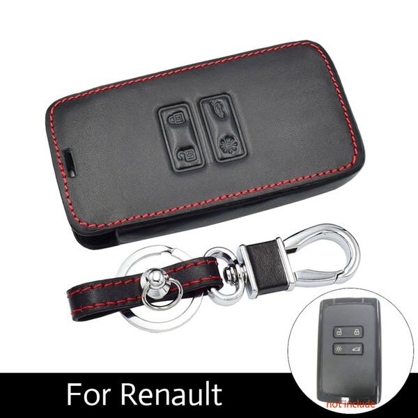 Leather Car Key Case Keyless Entry Cover Remote Fob Protector Shell Accessories for Renault Koleos Kadjar Scenic Megane Sandero