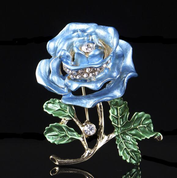 Retro Elegance Women Crystal Rhinestone Bouquet Corsage Brooch Enamel Flower Brooches Lapel Pins Wedding Party Jewelry Gift 3.8*4.2cm