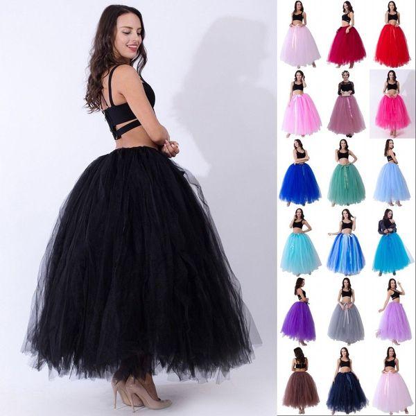 Hohe Qualität 3 Ebene 100cm Sommer-lange Tüllrock Art und Weise faltet TUTU Röcke für Frauen Lolita Petticoat Bridesmaids Kleid CPA836
