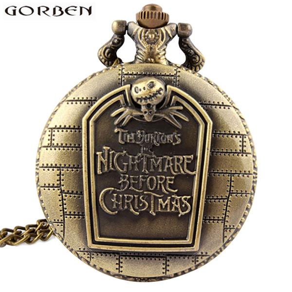 Nightmare Before Christmas Tim Burton Antique Pocket Watch Retro Bronze Quartz Chain Clock Necklace Pendant For Women Men Gift
