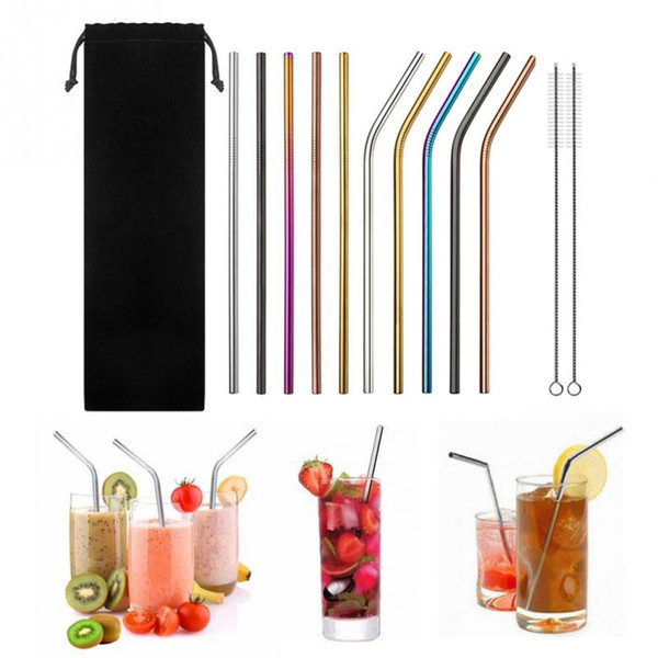 top popular 13PCS set Colorful Stainless Steel Straws Straight Bent Reusable Filter With Brush DIY Tea Coffee Drinking Straws With Brush 2021