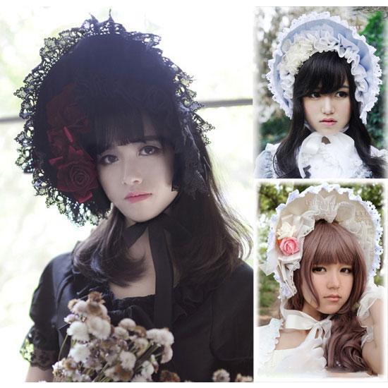Principessa dolce Lolita Bonnet adulto gotico pizzo Bonnet Summer Sun Hat per le donne