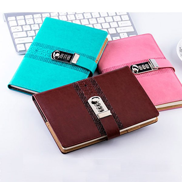 New Diary with Lock code password School Stationery notebook paper 130 sheets Vintage Notepad office school supplies gift