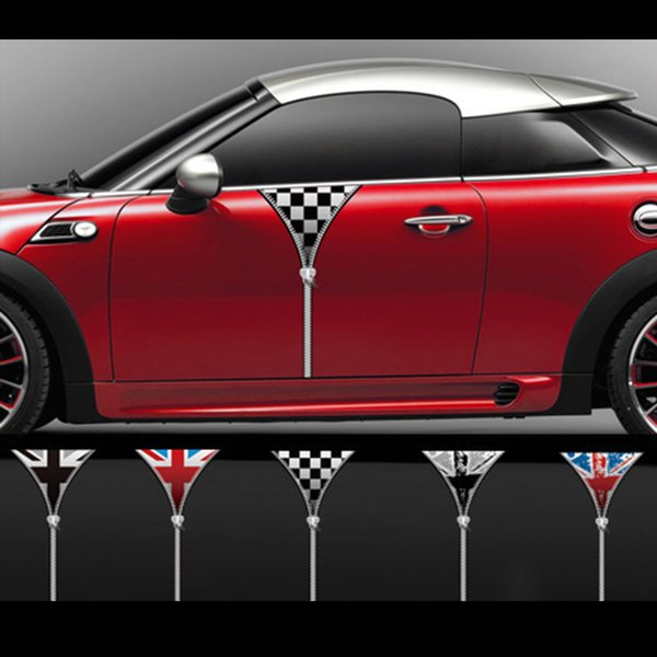 Two Sides Zipper Door Side Skirt Car Sticker Decal Decoration For Mini Cooper Countryman Clubman R55 R56 F55 F56 Car Accessories