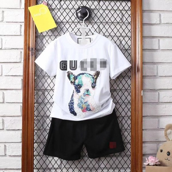 18 Xia Xinkuan Paillette Puppy Letter Printing Jacket Short Sleeve T Pity Male Girl Suit baby kids clothing set childrens clothes
