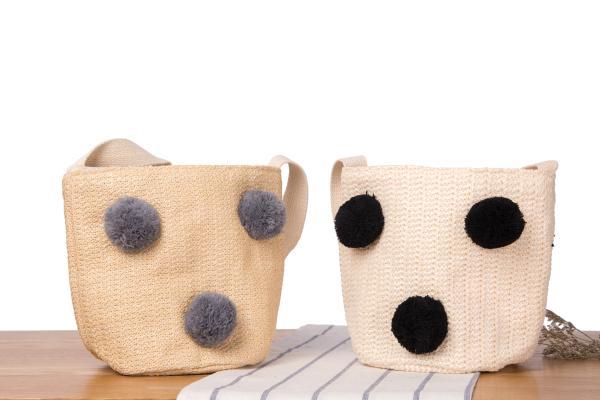 Оптовая и розничная новый соломенный мешок милый сладкий волос мяч пляжная сумка тканые ведро Сумка