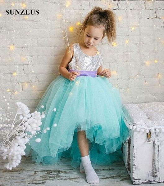 High Low Turquoise Flower Girl Dresses Silver Sequins Bodice Short Front Long Back Kids Party Dress Children Prom Gowns