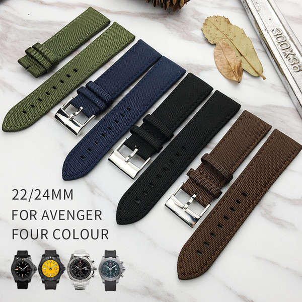 Nylon Calf Leather Skin Genuine Leather Watch Band Watch Strap for Breitling NAVITIMER Watch Man 22mm Black Brown Green Blue with Tool