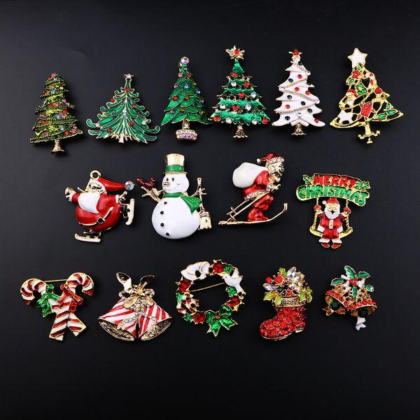 2018 New Fashion Christmas Rhinestone brooch Santa Claus socks and The Christmas tree Pins Brooch for Women Garment Jewelry