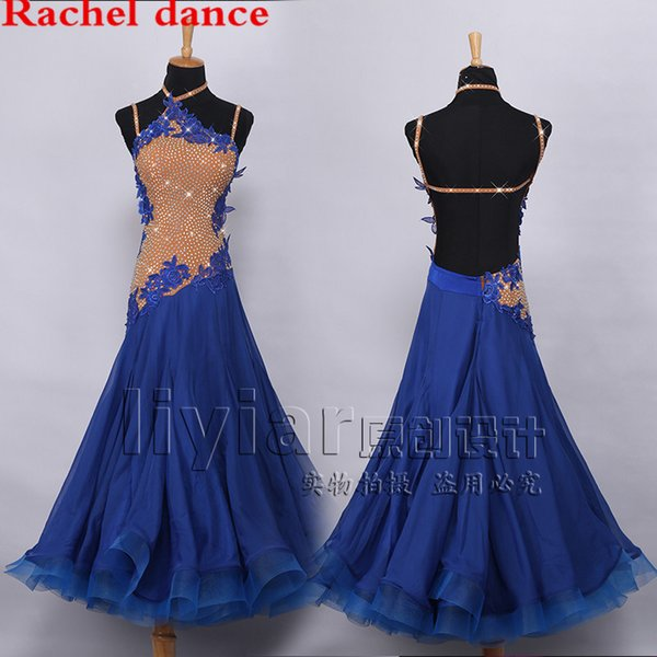 Modern Dance Dress Performance Competition Suits Royal Blue Embroidered Diamond Ruffled Big Hem Ballroom National Standard Waltz Jazz Dancin