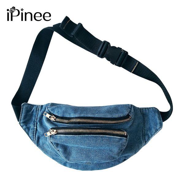 iPinee Yeni Kadın Bel Çantası İşlevli Kadınlar Bel Paketi Moda Denim Telefonu Çanta Küçük Kemer Çantası Serin Fanny Paketleri