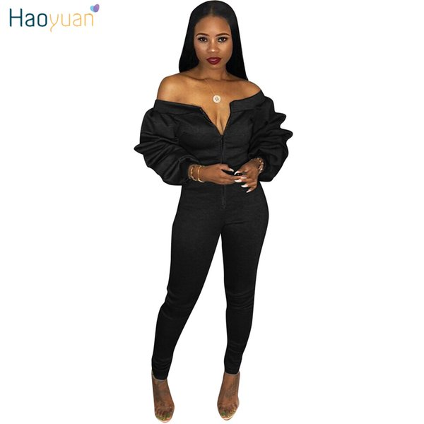 HAOYUAN Off Shoulder Sexy Jumpsuit Plus Size Overalls Layered Ruched Long Sleeve Yellow Black Bodycon Rompers Womens Jumpsuit
