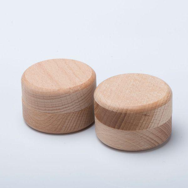 Boîte ronde de rangement de bijoux en bois vintage
