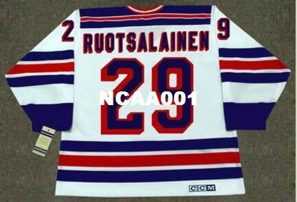 Mens #29 REIJO RUOTSALAINEN New York Rangers 1984 CCM Vintage Home Hockey Jersey or custom any name or number retro Jersey
