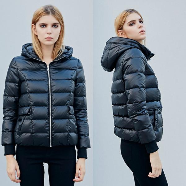 Women Designer Winter Coats 2018 Fashion Zipper Hoodie Jacket High Quality White Duck Down Women Clothes In Stock