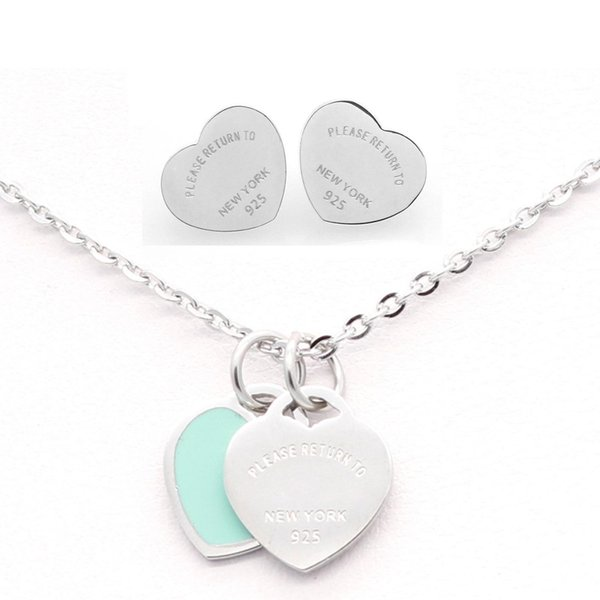 3 styles 316L Stainless Steel Double Heart Earrings Necklace Please return to New York 925 Letters Necklace Wedding Jewelry set for Women