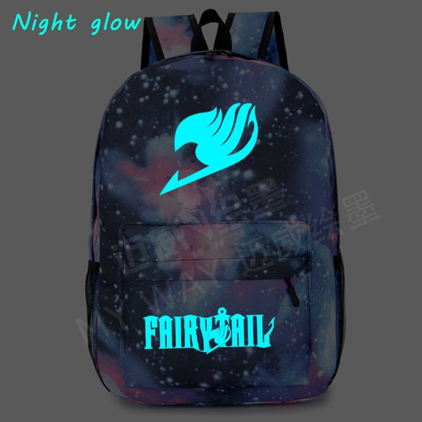 2018 Harajuku Star Fairy Tail Backpack Magic Guild Sign Of Male And Female  Students Travel Bag Luminous Teenage Girl Backpacks a42cc1e518
