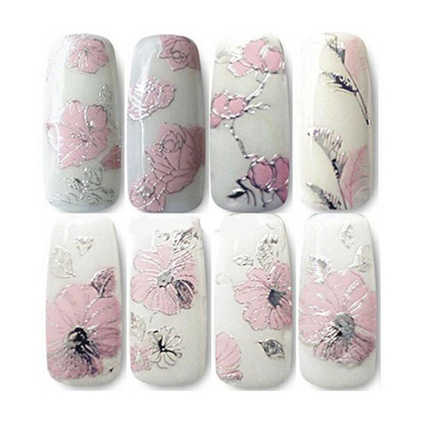1 Sheet 3D Nail Stickers Silver Embossed Pink Flowers Design Charms Nail Art Decal Tips Sticker Sheet for Manicure