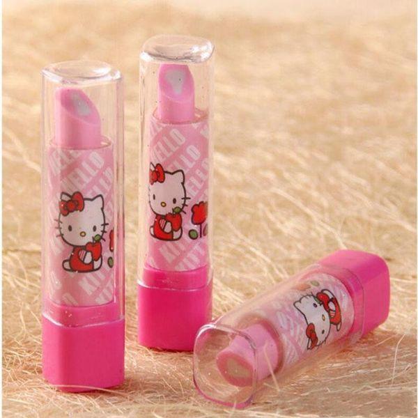 3 Style Lipstick Shape Eraser Korean Creative Stationery School Supplies Pupil award Gift Kids Cartoon Erasers