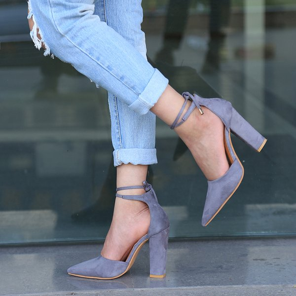 2019 6 Colors Pointed Strappy Pumps Sexy Retro High Thick Heels Shoes FASHION New Woman Shoes Female Lace Up Shoes PA911519 Dress