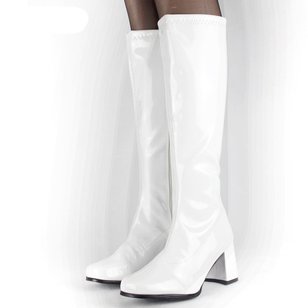 spedizione gratuita 3e906 92b53 Acquista Costumi Di Halloween Bianco Anni '60 Go Go Ladies Retro Boots For  Women Stivali Al Ginocchio 60s 70s Fancy Dress Party Plus Size A $77.39 Dal  ...
