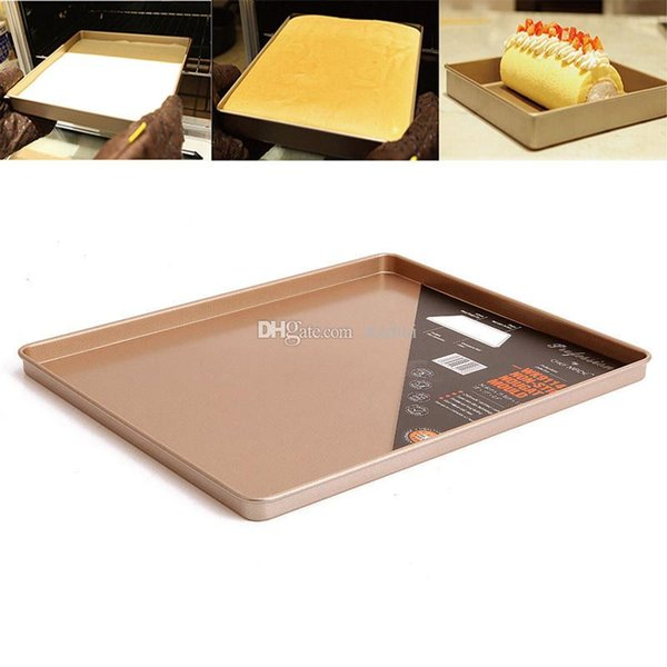 Baking Sheet Pan Cake Cookie Pizza Tray Baking Sheet Plate Gold Carbon Steel non-stick Square Baking Pan 30.8*25.7*1.5cm Free Ship WX9-52