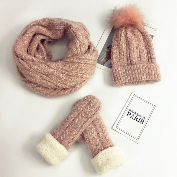 Winter Warm Knitted Cap Scarf, Hat & Glove Sets Girl Cap for Man or Woman
