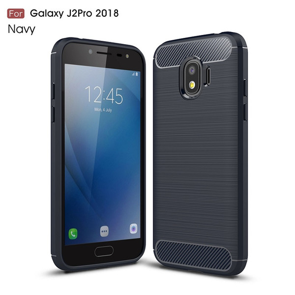 10PCS CellPhone Cases For Samsung Galaxy J2pro 2018 TPU Carbon Fiber heavy duty case for J2pro 2018 cover Free shipping