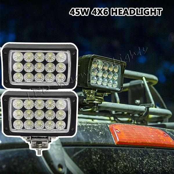 12pcs 45W 4x6in headlight for mini tractor truck trailer ATV marine boat agriculture vehicles high power led work light driving driving lamp