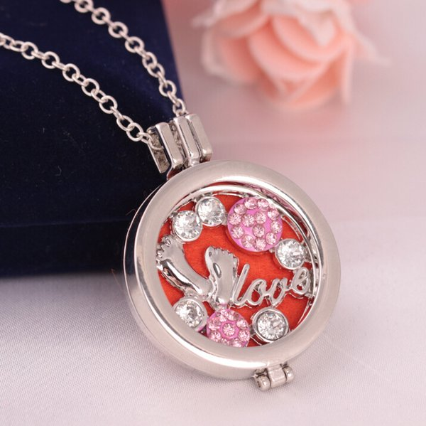 Silver Tone Diffuser Necklace With Rhinestone Lovely Feet Pendant Charm Locket Sweater Chain For Women