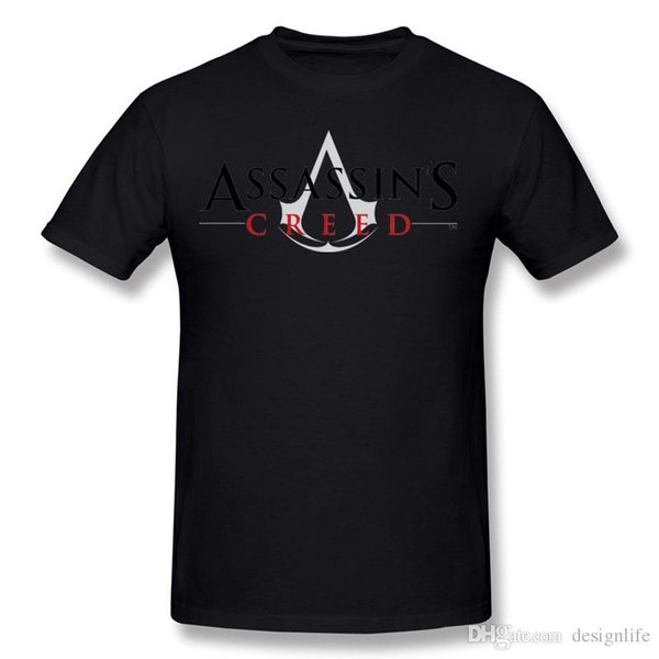 2017 Men's 100% Cotton Assassins Creed Logo Tee-Shirts Men's Round Neck White Short Sleeved Clothing Big Size Normal Tee-Shirts