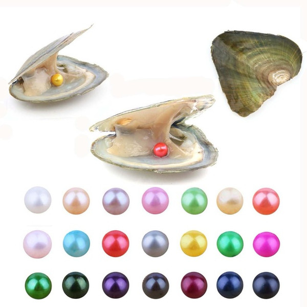 best selling 2019 New Akoya High quality cheap love freshwater shell pearl oyster 6-7mm red gray light blue pearl oyster with vacuum packaging A-1008