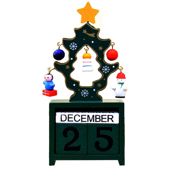 Creative Christmas Tree Wooden Box Calendar Table Decor Decoration Ornament