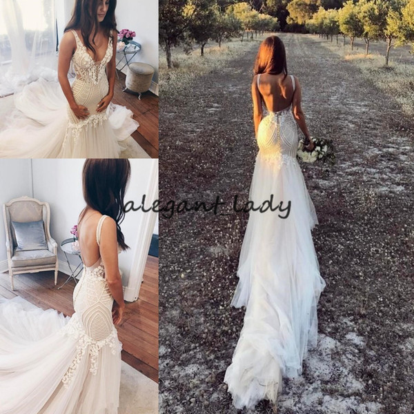 Court Train Modest Lace Appliqued Sexy 2018 Country Bridal Gowns Illusion Bodice bohemian Vintage Backless Mermaid Wedding Dresses