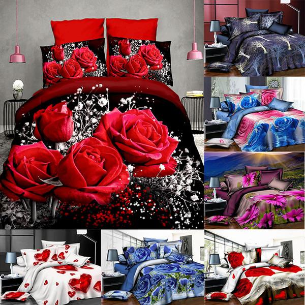 3D Baskılı Yatak Takımları 4 adet / takım Lüks Gül Desen Nevresim Yastık Kılıfı Ev Yatak Malzemeleri Noel Dekoratif Hediye WX9-1032