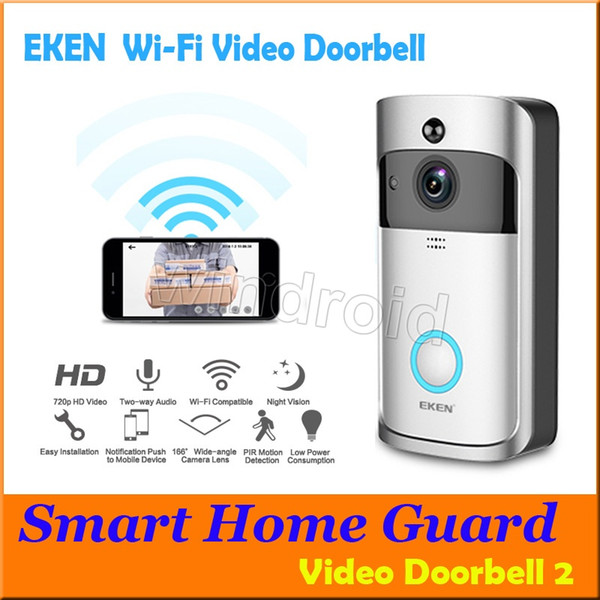 best selling EKEN Smart Wireless Video Doorbell 2 720P HD 166° Wifi Security Camera Real Time Two Way Talk and Video PIR Motion Detection APP Control