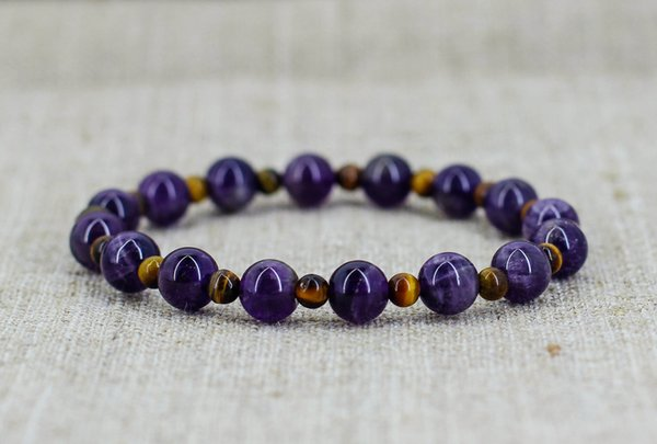 Fashion Purple Quartz Bracelet Nature Tiger Eye Bracelet Mala Beads Bracelets Yoga Mala jewelry men bracelets Gift For Girlfriend