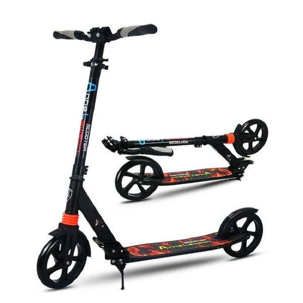 figli adulti scooter calcio NUOVO modello pieghevole PU 2wheels freno a mano bodybuilding tutto in alluminio trasporto campus urbano