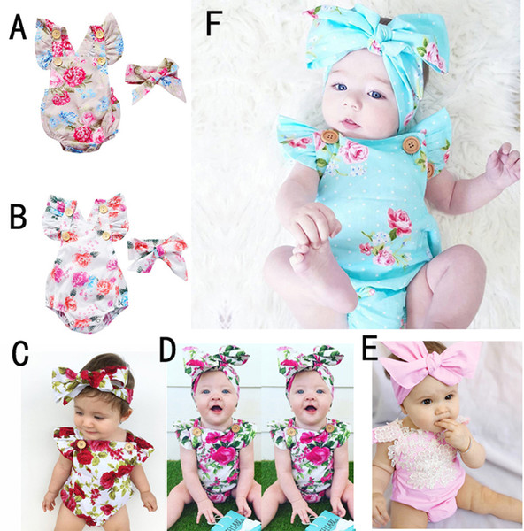 top popular 6 Styles Infants Baby Girl Floral Rompers Bodysuit With Headbands Ruffles Sleeve 2pcs Set Buttons 2017 Summer INS Romper Suits 0-2 years 2019
