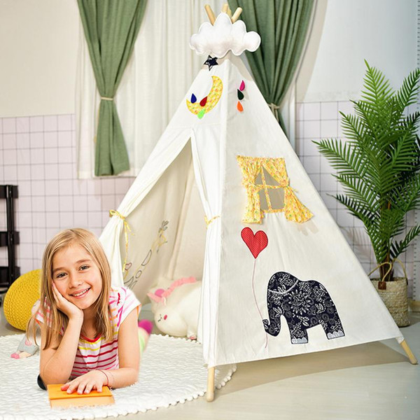 Large Unbleached Cotton Canvas Original Teepee Kids Teepee With White Indian Play Tent House Children Tipi Tent