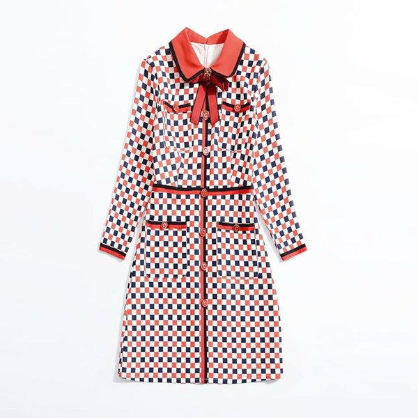 2018 Fall Autumn Long Sleeve Peter Pan Collar Plaid Bee Print With Ribbon Tie-Bow Lady Knee-Length Dress Luxury Runway Dress N05K101610