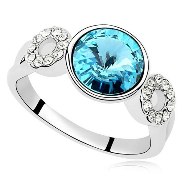 Crystal from Swarovski Elements Wedding Rings Women Fashion Jewelry Engagement White Gold Plated 14457