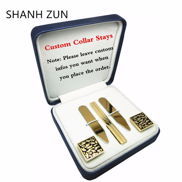 SHANH ZUN DIY Custom Stainless Steel Collar Stays Tie Clip Cufflinks Personalized Gift Set for Mens Dress Shirt