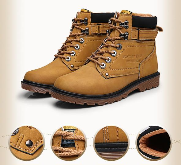 Hot sell Fashion Leisure Shoes Spring Autumn Winter Shoes Ankle Snow Boots Men Martin Shoes army boots Leather Outdoor Waterproof Rubber