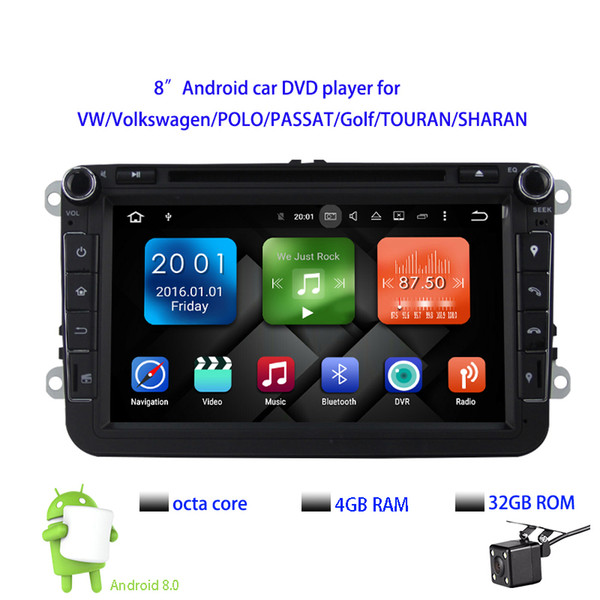 "8""Pure Android 8.0 Car DVD Octa Core 4GB RAM 32G ROM 1024*600 Screen Car Raio for VW Golf mk6 5 Polo Jetta Tiguan Passat B6 B5 CC Skoda"