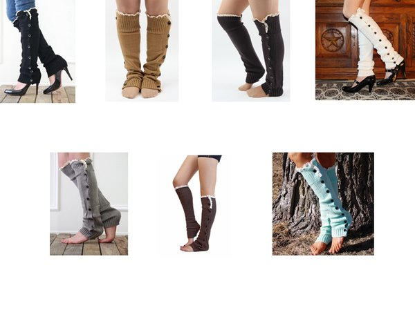 7 colors Europe and America popular Christmas new button lace over the knee boots set woolen knit foot cover socks