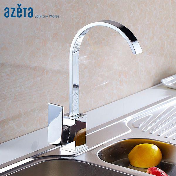 Azeta Spedizione gratuita in ottone cromato rubinetto della cucina rotazione di 360 gradi singola maniglia lavello da cucina rubinetto Torneira MK8824